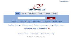 Imágen del desaparecido buscador Altavista.