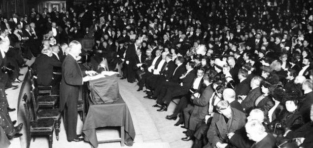 Main lecture hall of the Sorbonne in Paris on 20 March 1914.
