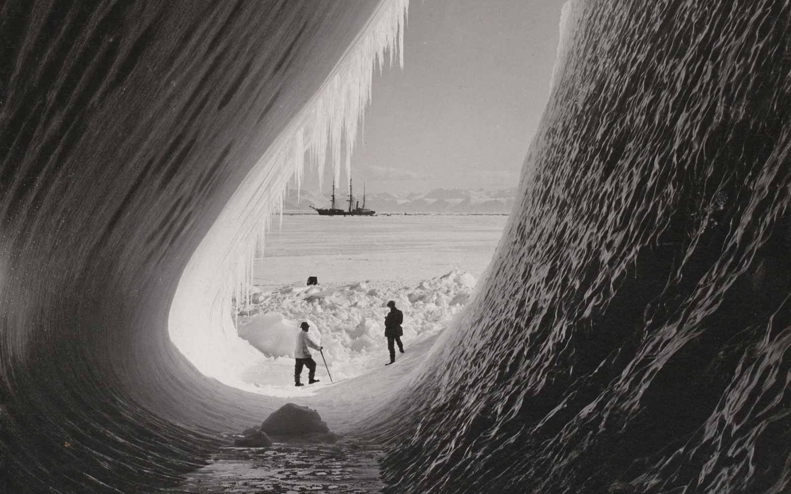 Grotto in an iceberg, photographed during the British Antarctic Expedition of 1911-1913.