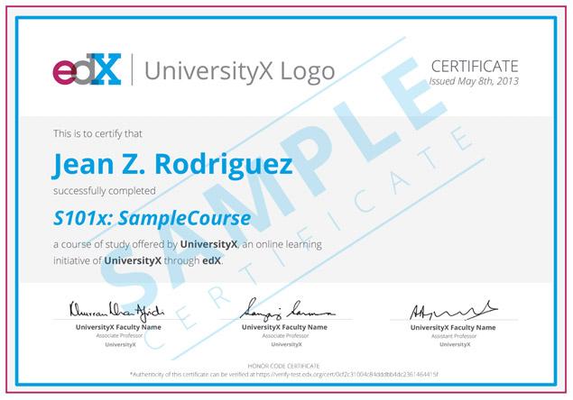 edX sample certificate.