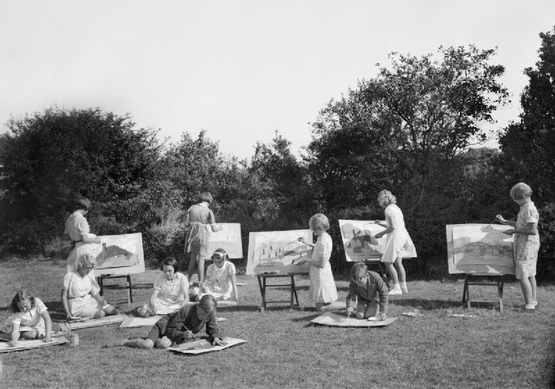 Open-air art class in the grounds of the school at Penygroes, Carmarthenshire, Wales 1940.