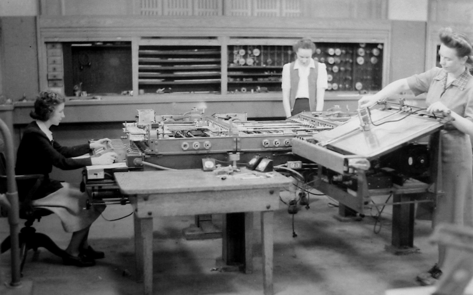 Three members of the team led that worked on the ENIAC under Adele Katz (circa 1942-1945).