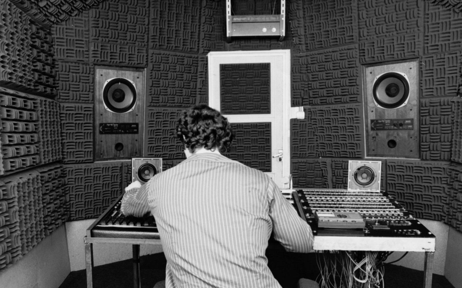 Estudi de gravació al Salford College of Technology, Manchester 1984